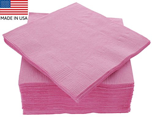 Amcrate Big Party Pack 125 Count Pink Beverage Napkins - Ideal for Wedding, Party, Birthday, Dinner, Lunch, Cocktails. (5