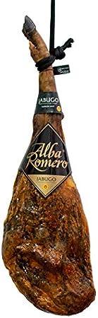 Jamón 100% Ibérico de Bellota DOP Jabugo (Calidad Summun) ALBA ROMERO | Peso aproximado de 6.5 KG | Pieza entera + cubrejamón