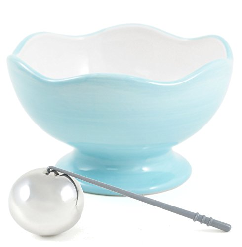 Soiree Party Serving Blue and White Pedestal Bowl and Chilling Sphere Set