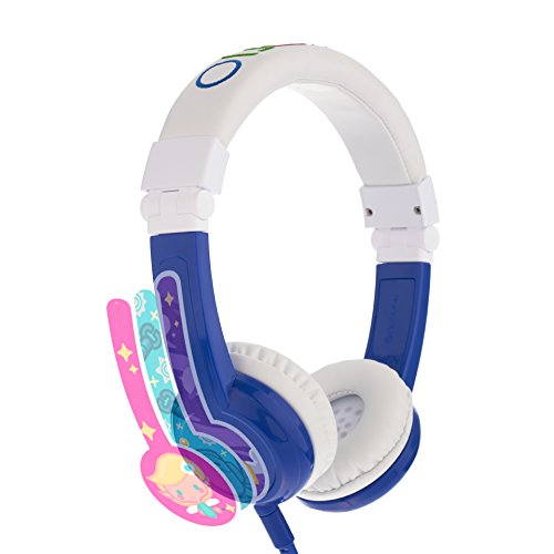 Explore Foldable Volume Limiting Kids Headphones - Durable, Comfortable & Customizable - Built in Headphone Splitter and in Line Mic - for iPad, Kindle, Computers and Tablets - Blue by ONANOFF