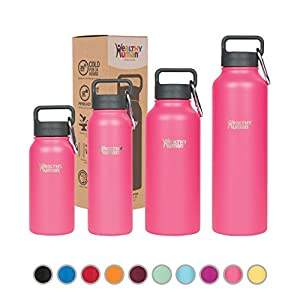 Healthy Human Stainless Steel Insulated Travel Sports Water Bottle Thermos - Leak Proof - No Sweating, Keeps Your Drink Hot & Cold - Hawaiian Pink - 16 oz