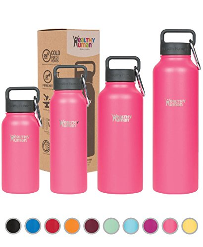 Healthy Human Stainless Steel Insulated Travel Sports Water Bottle Thermos - Leak Proof - No Sweating, Keeps Your Drink Hot & Cold - Hawaiian Pink - 40 oz