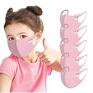 Kids Face Mask [ Mon. to Fri. ] - 5 PCS Reusable Cloth Face Mask Set, Striped, Back to School/Work Supplies