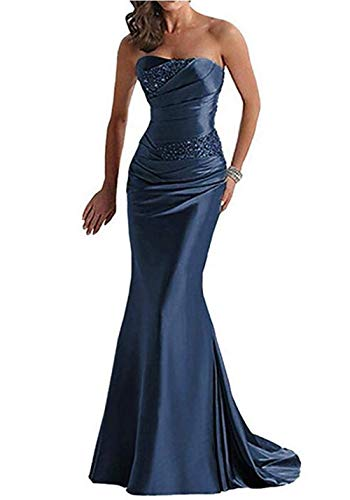 Emmani Women's Strapless Beaded Mermaid Sheath Trailing Evening Dresses Navy Blue