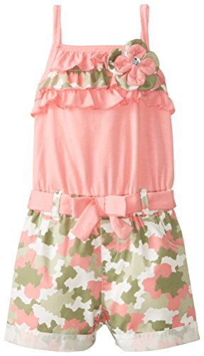 Little Lass Baby Girls' Knit Twill Camo Romper, Coral, 12 Months