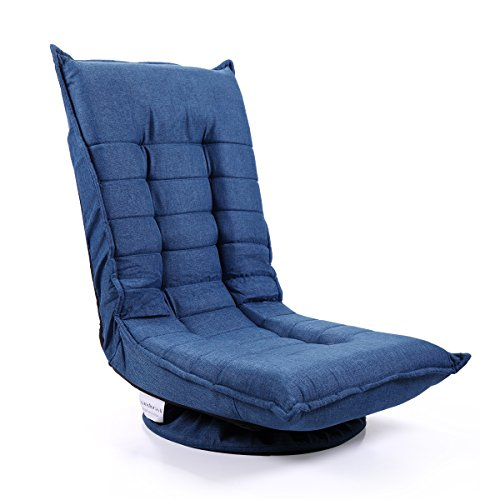 Tobbi Fabric Folded Floor Chair 360 Rotation Swivel Video Rocker Gaming Sofa Chair Adjustable Angle Chair Blue by Tobbi