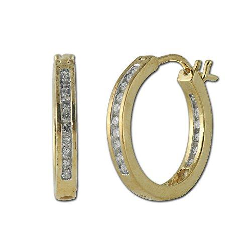 TriJewels Diamond Inside Out Hoop Earrings 0.50 ct tw in 14K Yellow Gold ()