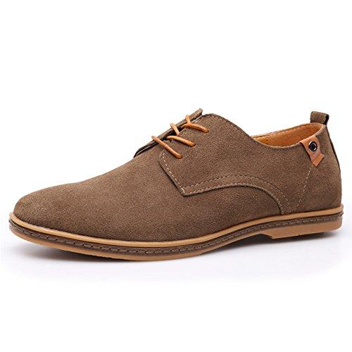 Gomotion Mens Klassiska Läder Oxford Snörning Lägenheter Skor Loafers Khaki