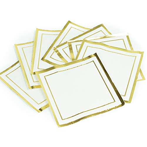(GLAM Cocktail Napkins, Gold Trim - 100 Pack | 5-Inches by 5-Inches Wedding Napkins, Paper | 5x5 Gold Napkins, Disposable | Party Napkins, White and Gold | Beverage Napkins, Gold Rim)
