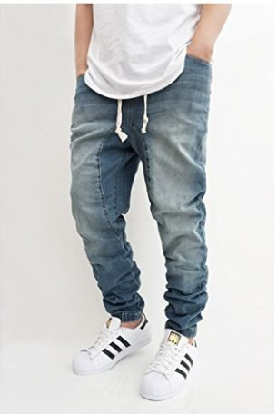MEN'S VINTAGE DROP CROTCH DENIM JOGGER PANTS (M)