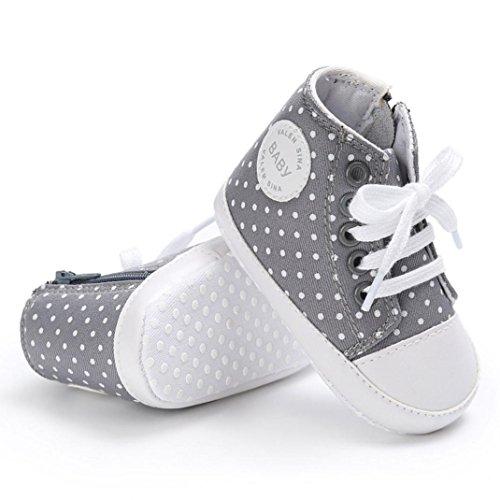 Hunpta abyschuhe jungen Mädchen Neugeborenes Krippe weiche Sohle Schuhe Sneakers (Alter: 12 ~ 18 Monate, Rosa) Gray