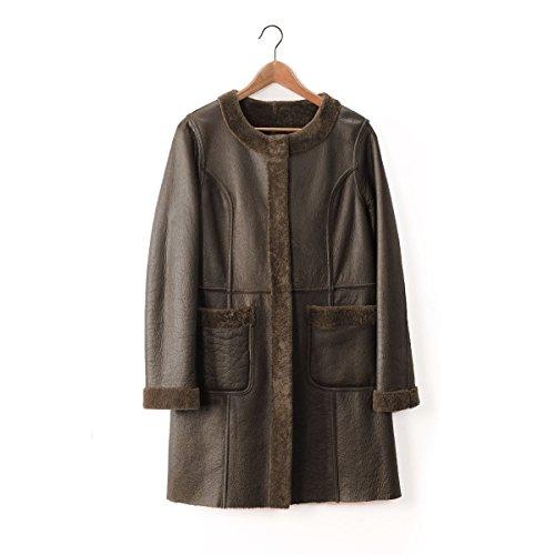 オーストラリアムートンコートレディースノーカラーダブルフェイスcoat毛皮farLサイズブラウン茶色