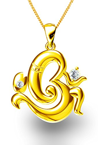 Buy exxotic festive gold plated 925 silver om ganesha pendant for exxotic festive gold plated 925 silver om ganesha pendant for men and women aloadofball Image collections