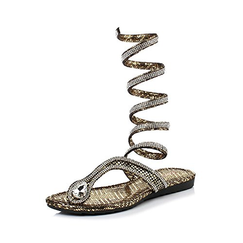 OCHENTA Tong Lacets Serpent Strass Or