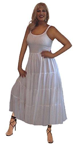 White Boho Spaghetti Damen Lotustraders Träger Kleid