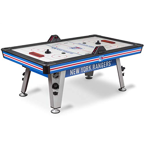 NHL Air Powered Hockey Table - New York Rangers - 84 Inch - Features Scratch Resistant Material, Automatic Scoring, and Built-In Accessory Storage