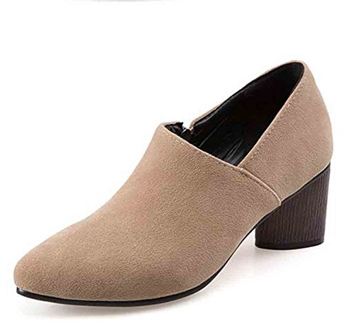 Easemax Womens Elegant Faux Suede Pointed Toe Low Top Mid Chunky Heel Zipper Pumps Shoes Apricot qMJ37LZvS