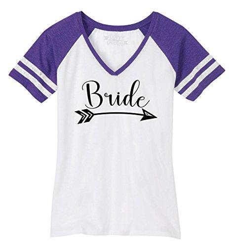Comical Shirt Ladies Game V-Neck Tee Bride Arrow White/Heathered Purple 2XL