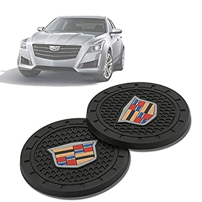 2 Pcs 2.75 inch Car Interior Accessories Anti Slip Cup Mat for Cadillac Escalade, CTS,SRX, BLS, ATS,STS, XTS, SXT,etc All Models: Automotive