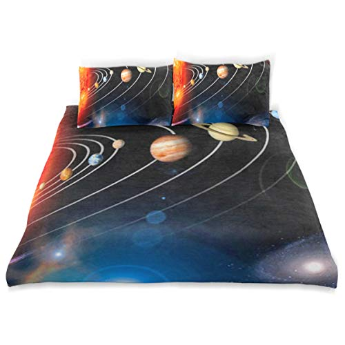 Outer Space and Planets Set 3 Piece Bedding Duvet Cover Set Twin Size 1 Quilt Cover and 2 Pillow Cases Shams 66''x 90'' Decorative Bedding Set for Kids Girls -