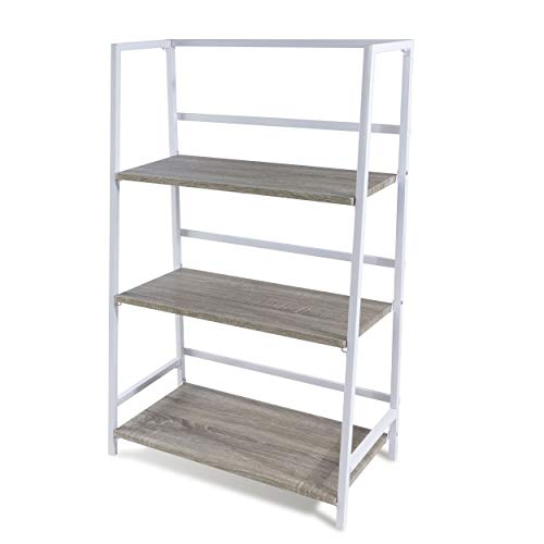 Atlantic 3 Tier Folding Shelf - Sturdy Tubular Design, Folds for Easy Storage PN3845036 in White