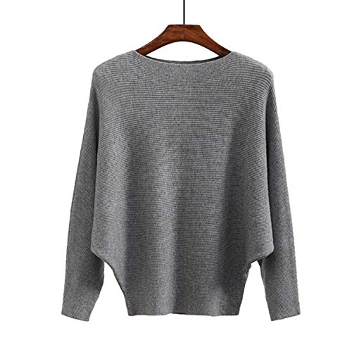 - Sweater Women Slash Neck Woven Winter Sweaters Women Batwing Cashmere Casual Pullovers Femme,Gray,One Size