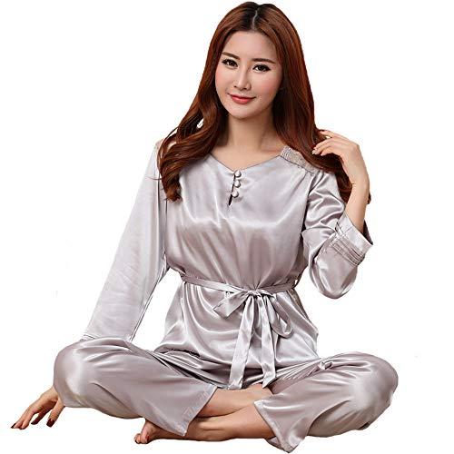 Lady Wear Sciolto Camicia Primavera Satin Autum Rayon Pigiama Nightwear Trim M Pantaloni Home JYHTG Sleepwear Set Sexy Casual Lace 2Pcs E wgOZZ8qX