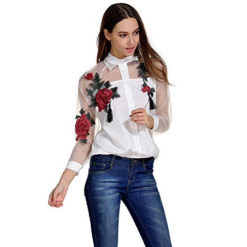 GLBUY Women Rose Embroidered Button Down Blouse Turn Down Collar Tops Organza Western Shirt(M)