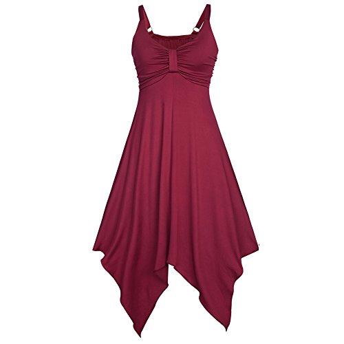 West Rot Damen Ärmellos Trägerkleid Unregelmäßig Elegant Casual Sommer V-ausschnitt See Beach Träger Rückenfrei Kleider