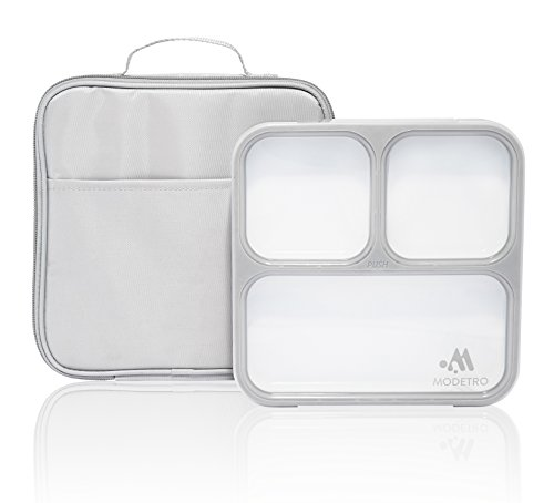 Modetro Slim Lunch Boxes for Adults - Leakproof Bento Box with Compartments - Insulated Lunch Bag - Great for Portion Control. (Box Great Lunch)