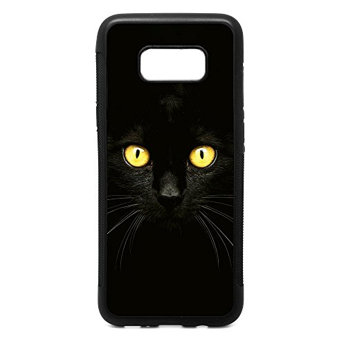 Samsung S8 Plus Case, Black Cat in the Dark Black Soft Rubber TPU Bumper Case, Customized Galaxy S8 Plus Cat Lover's - Eyes Black Cat