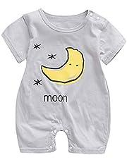 Fossen Kids Ropa Bebe Niña Recién Nacido Verano Mono de Manga Corta para Niño Niñas, Mamelucos con Estampado de Nubes de Sol y Luna