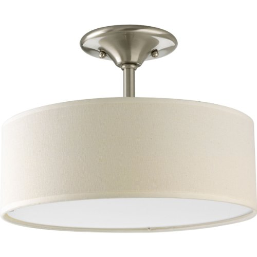 Progress Lighting P3939-09 Inspire Collection 2-Light Semi-Flushmount, Brushed Nickel (Close To Ceiling Light Fixtures)