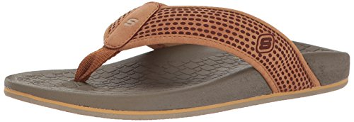 Skechers Usa Mens Pelag Emiro Flat Sandal, Tan, 11 M Us