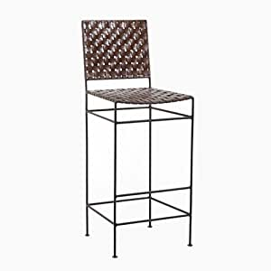 William sheppee saddler iron and woven leather barstool kitchen dining Home bar furniture amazon