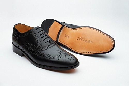 3dm Estilo De Vida Handcrafted Hombres Cuero Genuino Clásico Brogue Oxford Wing-tip Lace Up Cuero Forrado Vestido Perforado Oxfords Zapatos Negro