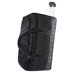 "Perry Ellis Men's 24"" Lightweight Rolling A324 Duffel Bag, Black/Grey, One Size"