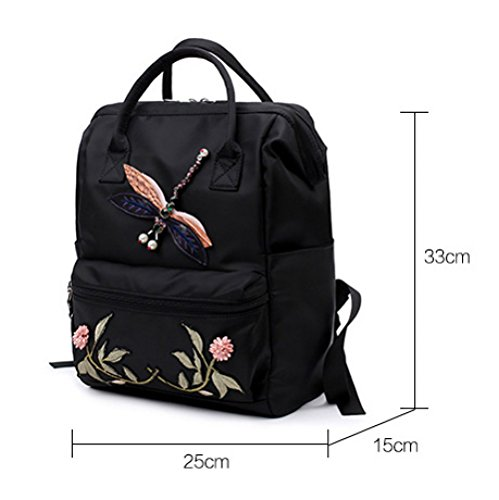 Outdoor Hope Bag Backpack Backpacks 25 Black Backpack Black 33cm 15 Large Nylon Capacity Womens Waterproof Multifunctional Embroidered wf8PY