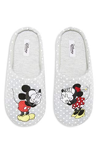 Disney Minnie Mickey Mouse Pantuflas Zapatillas Cubrepies Calcetines Talla S M L - Gris, GB Grande 7-8 EU 40-41: Amazon.es: Zapatos y complementos