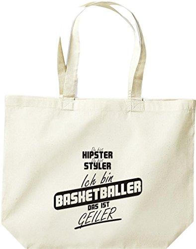 Shirtstown große Einkaufstasche, Shopper du bist hipster du bist styler ich bin Basketballer das ist geiler natur