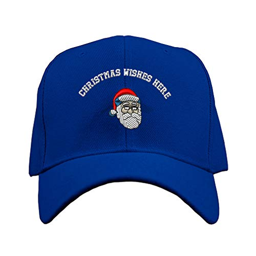 Custom Baseball Hat Santa Claus Embroidery Christmas Wishes Acrylic Structured Cap Hook & Loop - Royal Blue, Personalized Text -