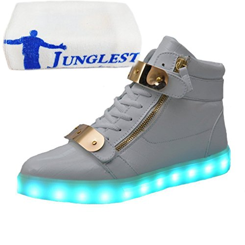 (Present:small towel)JUNGLEST® Women Men USB Charging LED Light Up Shoes Fl Patent Leather High Top White