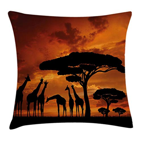 Ambesonne Wildlife Decor Throw Pillow Cushion Cover, Safari with Giraffe Crew with Majestic Tree at Sunrise in Kenya, Decorative Square Accent Pillow Case, 16 X 16 Inches, Burnt Orange Black (Sofa Kenya)