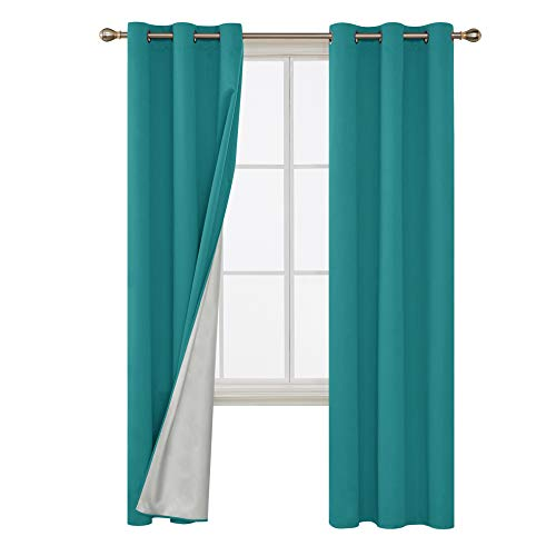 Deconovo Room Darkening Blackout Curtains Thermal Insulated Grommets Energy Saving Drapes with Silver Coating Sunlight Blocking Drapes for Living Room 42W x 84L Inch Teal 2 Panels (For Curtains Media Blackout Room)