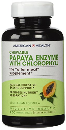 100 Tablets Enzyme - American Health Papaya Enzyme with Chlorophyll Chewable Tablets, 250 Count