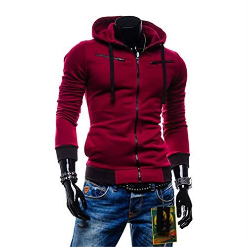 Cyose Fashion Man Hoodie Cardigan Men Casual Zipper Slim Hoody Male Sportswear Hoodies 4XL 10 Red Wine XXXL