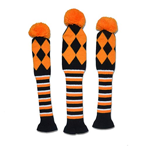 Freahap Knitted Golf Headcovers Set of 3 Pieces Golf Club Head Covers Orange