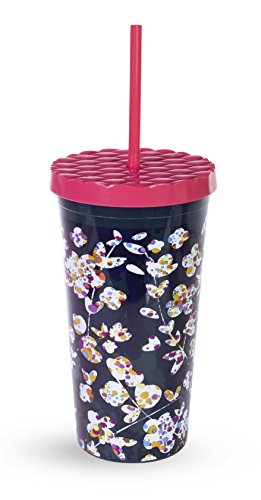 Vera Bradley Acrylic Insulated Travel Tumbler with Reusable Straw, 20oz (Cut Vines)