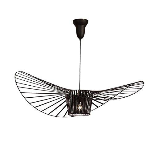 Lámpara colgante del arte del hierro del ala del oeste europeo, personalidad creativa Lámpara del sombrero de paja, sala de...