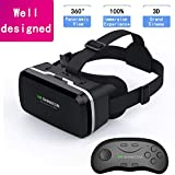 HD VR Headset with Controller,3D Glasses Virtual Reality Headset for VR Games & 3D Movies, VR Headset for iPhone & Android Phone